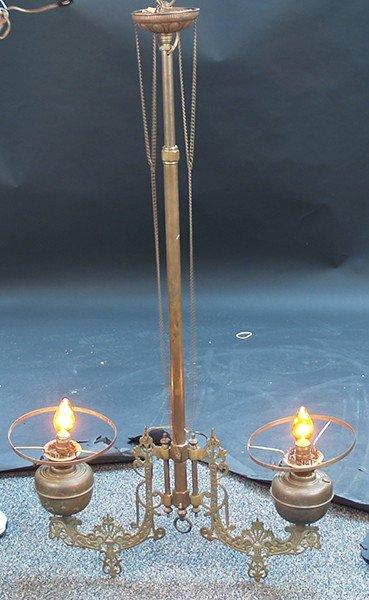 585: Antique Hanging Solid Brass Chandelier c1880's