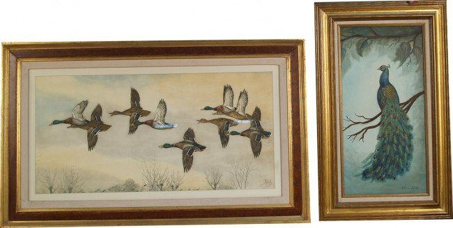 705: Lot Of 2 Bird Prints In Frames: