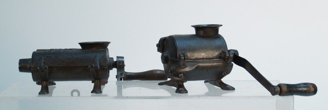 711A: Lot Of 2 Early Mountable Cast-Iron Handcrank Food