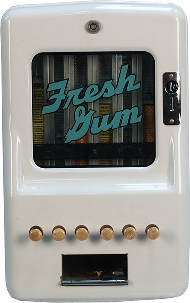 717: 1 Cent Wall Mount Metal 6-Column Gum Vending Machi