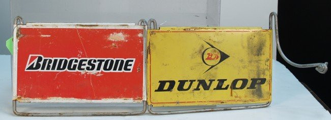 717A: Lot Of 2 Metal Tire Display Top Signs: