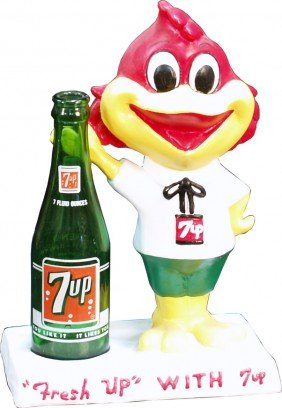 "252: Countertop ""Fresh Up With 7UP"" Figural Bird Statue"