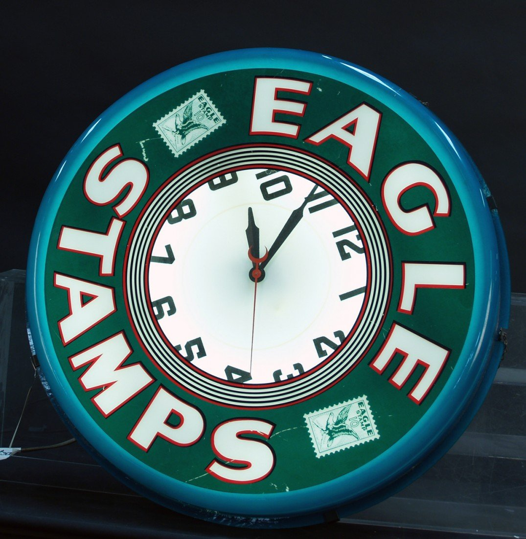"253: Wall Mount Plastic Light-Up ""EAGLE STAMPS"" Clock"