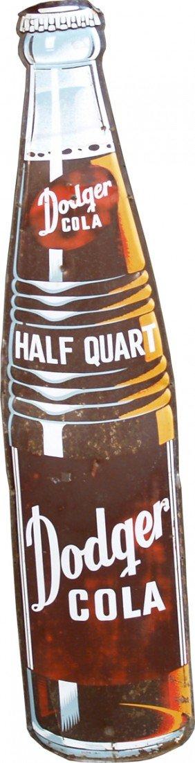 257: Dodger Soda Die-Cut Embossed Bottle Shaped Tin Sig