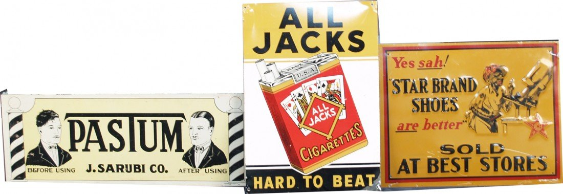 259: Lot Of 3 Tin Signs:
