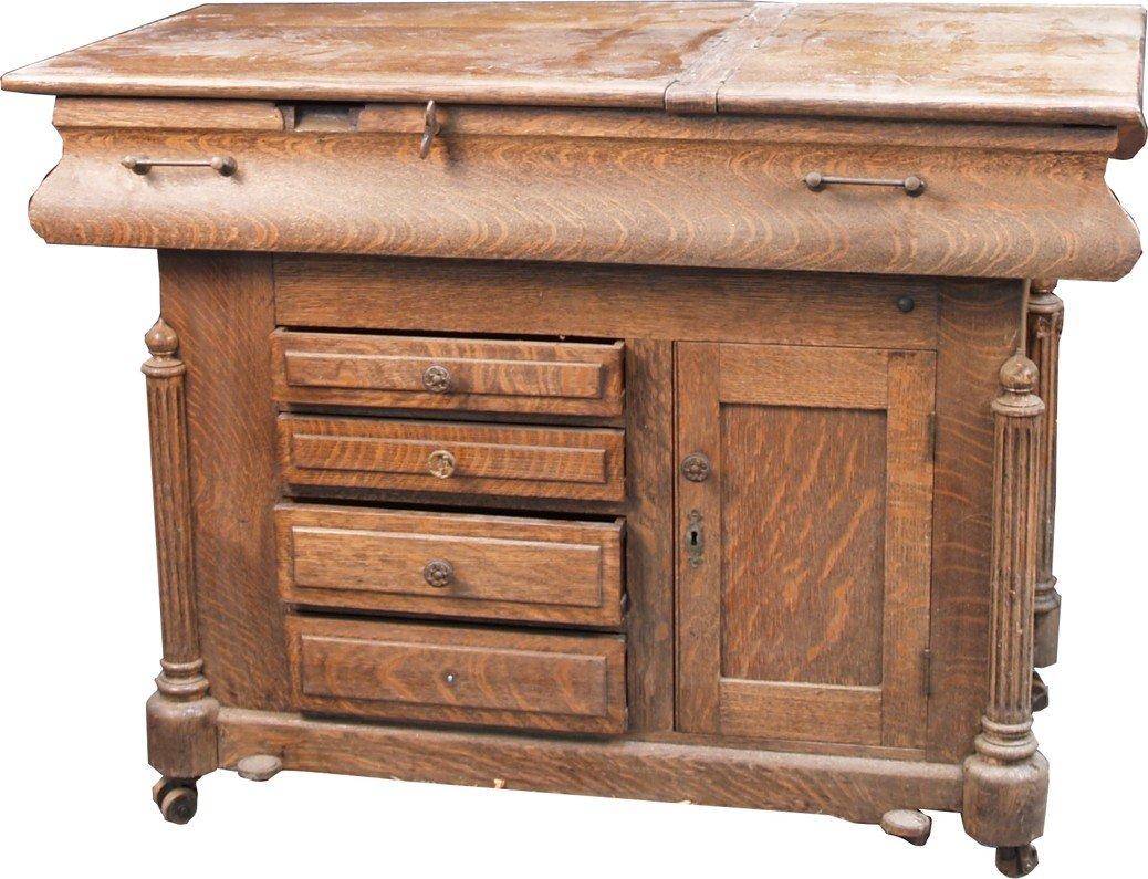 261: Vintage Double Sided Oak Cabinet/Work Station