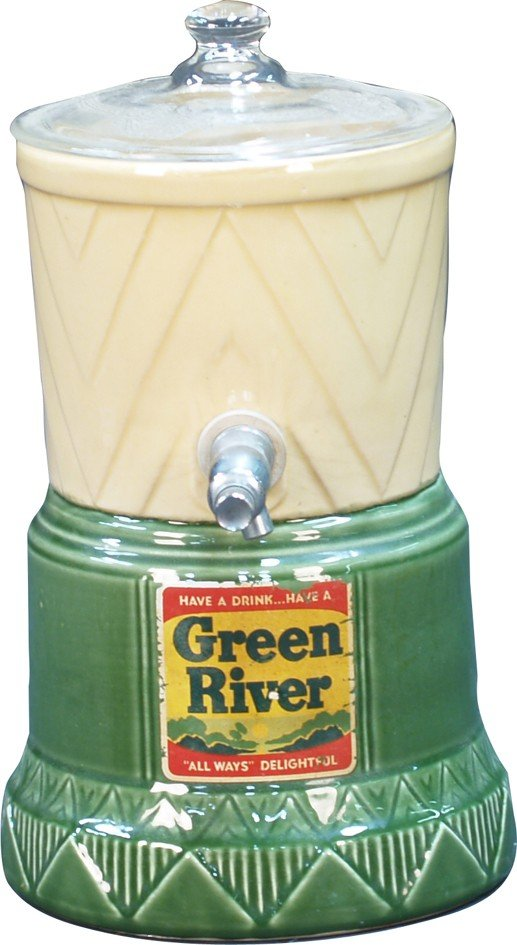 "263: Vintage Countertop Glass ""Green River"" Syrup/Liqui"