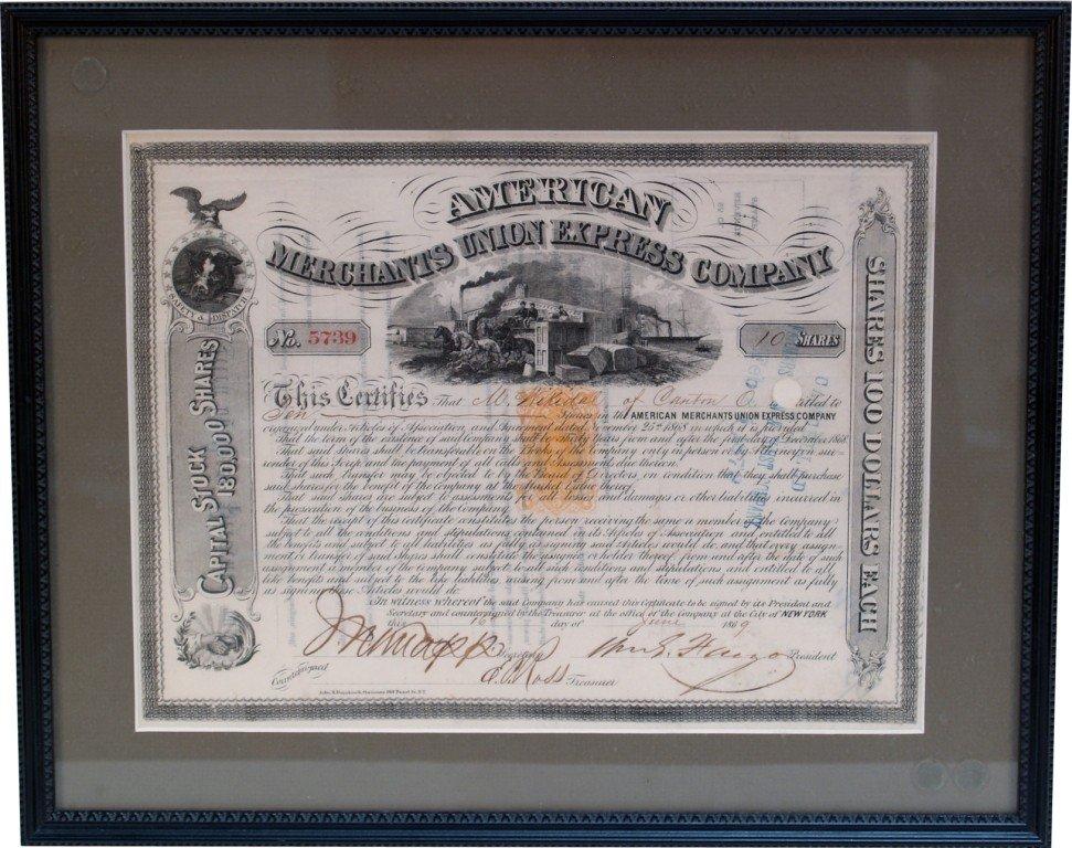 273: American Merchants Union Express Company Stock Cer