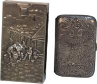 323 Lot of 2 Antique Embossed Silver Cigarette CaseBo