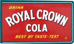 457: Drink Royal Crown Cola Double Sided Flange Tin Sig