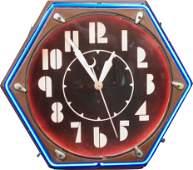 479 Wall Mount Metal  Neon Art Deco Clock