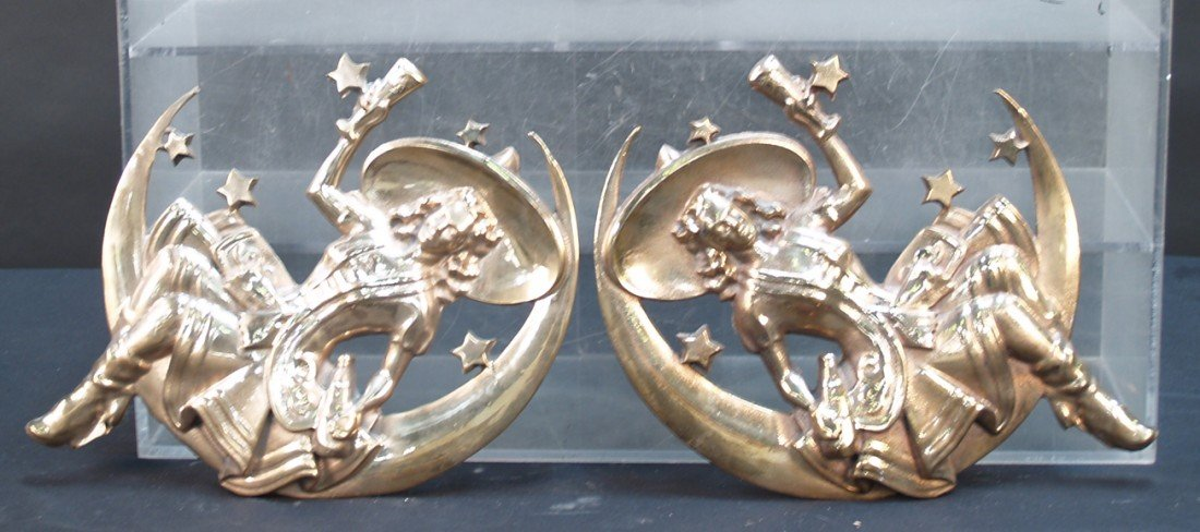 802: Lot Of 2, Pair Of Brass Wall Mount Miller Brewery