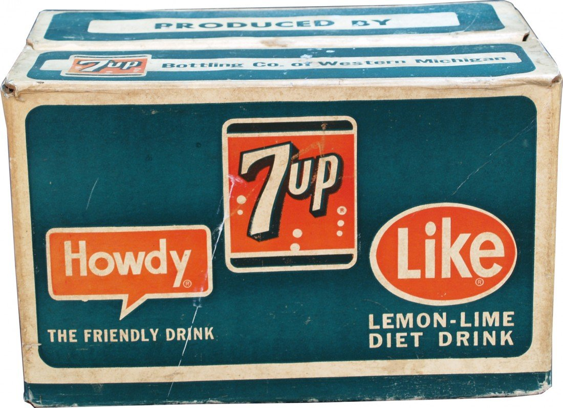 "803: Vintage Waxed Cardboard ""7UP"" 24-Bottles Advertisi"