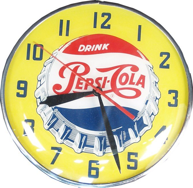 812: Wall Mount Light-Up Pepsi-Cola Advertisement Clock