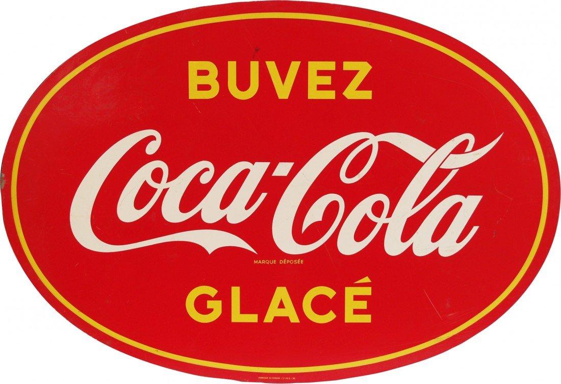 """820: Vintage Coca Cola Tin Sign c1940's """"Buvez Glace"""""""