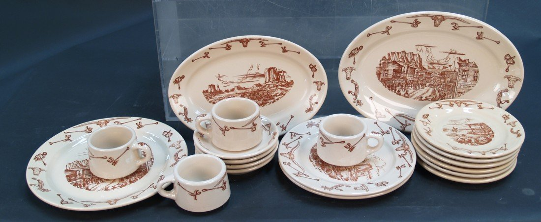 824: Lot Of 19 EL Rancho Pattern Diner China Dinnerware