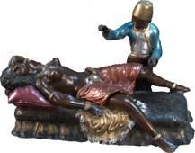 """965: Vintage Art Bronze Erotic Figural Statue Signed """"N"""