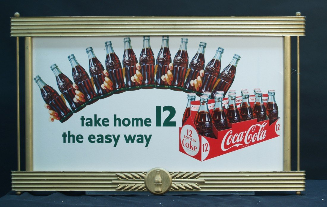 "972: Coca Cola ""Take Home 12 The Easy Way"" Cardboard Ad"