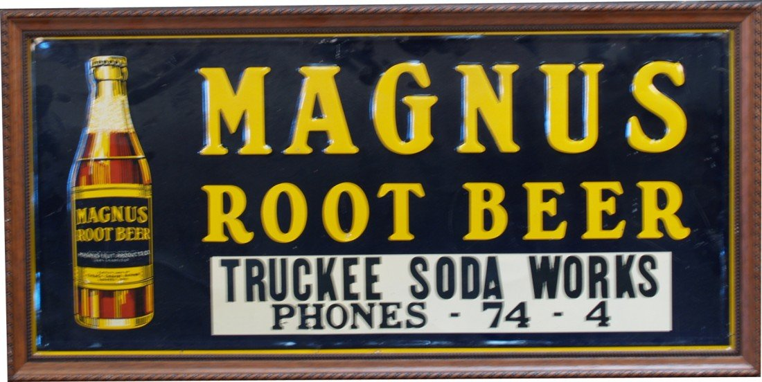 973: MAGNUS Root Beer Embossed Tin Sign