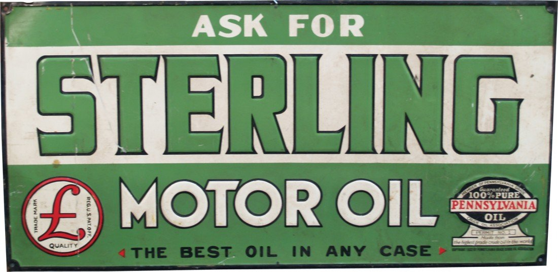 "976: ""Ask For Sterling Motor Oil"" Embossed Tin Sign"