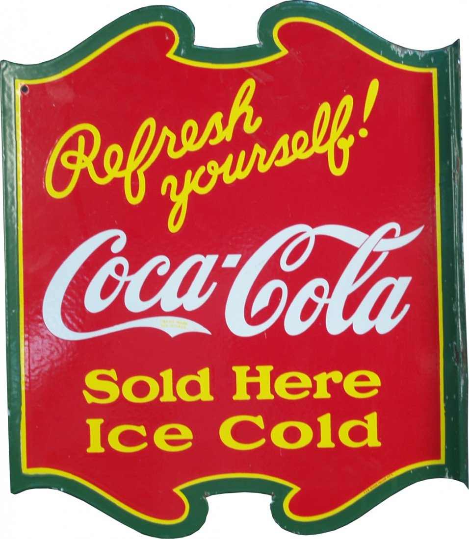 987: Coca Cola Refresh Yourself! Die-Cut Double Sided F