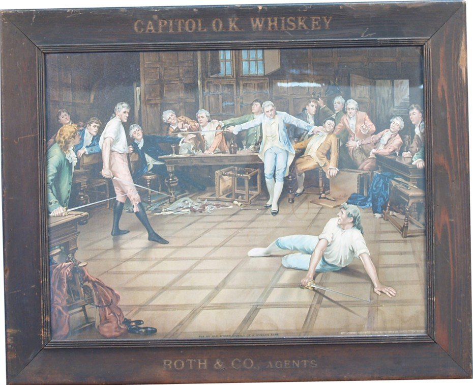 990: Capitol O.K. Whiskey Fencing Bar Scene Paper Sign