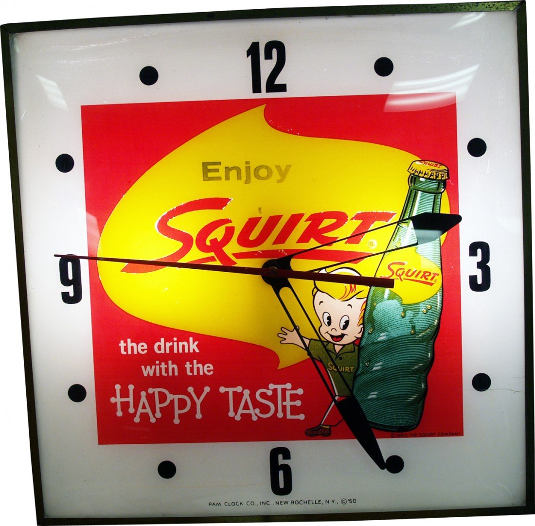 "999: Vintage Wall Mount Light-Up ""Enjoy Squirt"" Pam Clo"