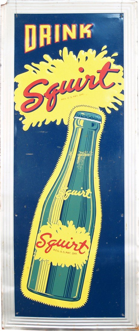 "1000: ""Drink Squirt"" Embossed Self-Framed Tin Sign"