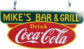 "1236: ""Drink Coca Cola Mike's Bar & Grill"" Die-Cut Doub"