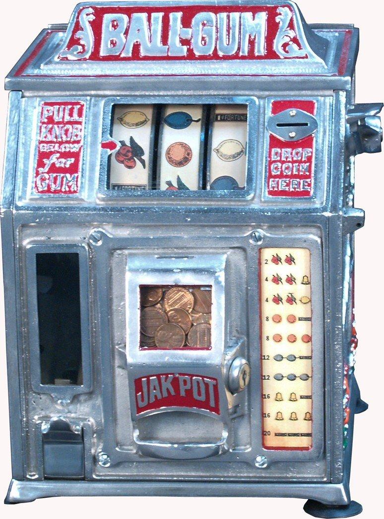 """3: 1 Cent Countertop """"BALL-GUM"""" 3-Reel Gumball Trade St"""