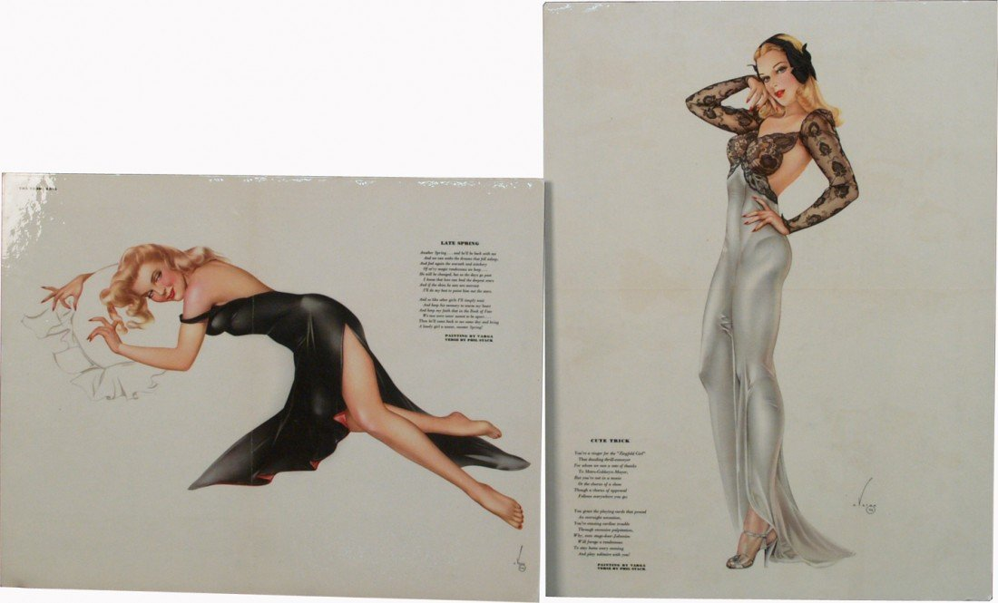 5: Lot Of 2 Vargas Esquire Magazine Pin-Up Girl Prints