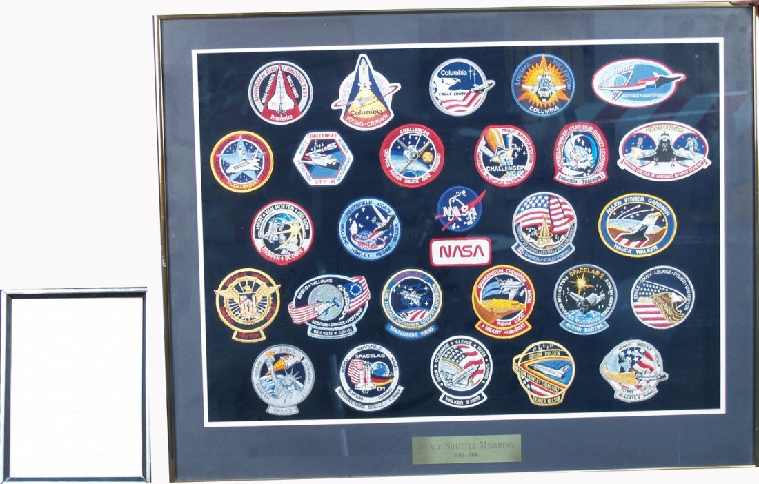 7: Lot Of 25, Framed 1981-1986 Space Shuttle Mission Pa