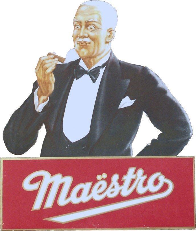 "19: ""Maestro"" Cigar Easel Back Die-Cut Cardboard Displa"
