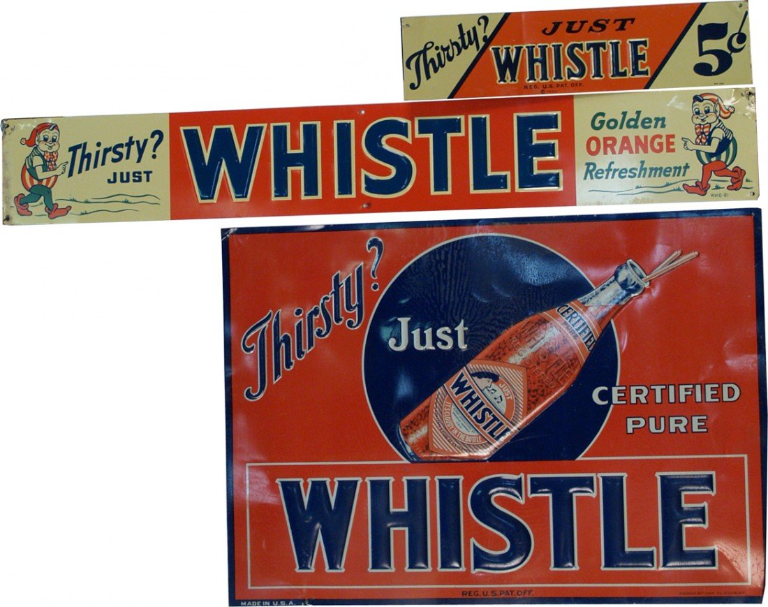 """20: Lot Of 3 Vintage """"Whistle"""" Embossed Tin Signs:"""