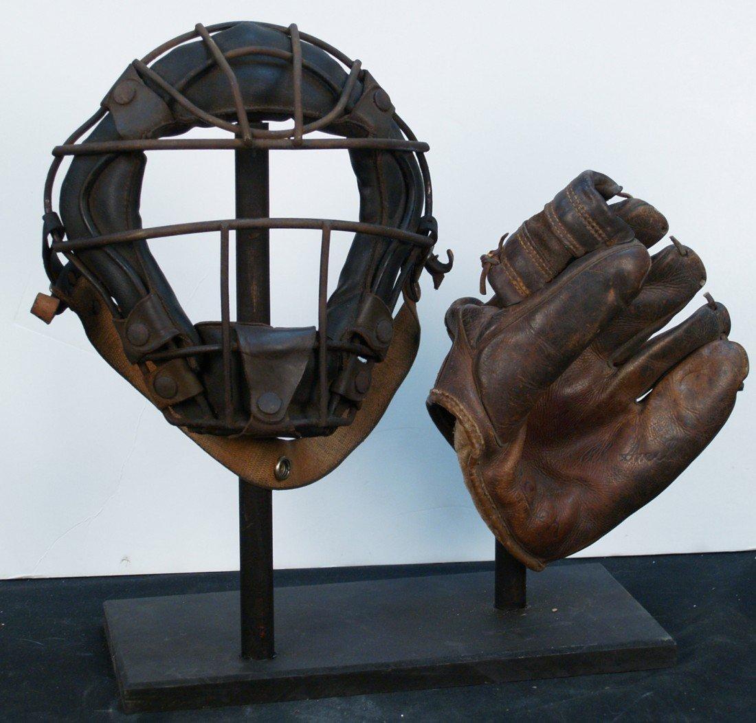 23: Vintage Baseball Catchers Mask & Leather Glove
