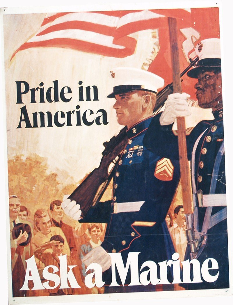 """24: Large """"Ask A Marine"""" Double Sided American Pride Ti"""