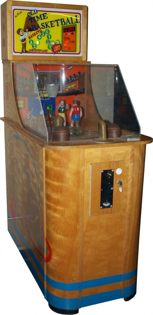 "432: 25 Cent Floor Model Wood Case ""Old Time Basketball"