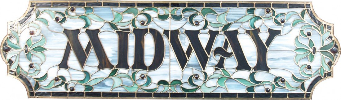 "506: ""MIDWAY"" Stained Glass Sign"