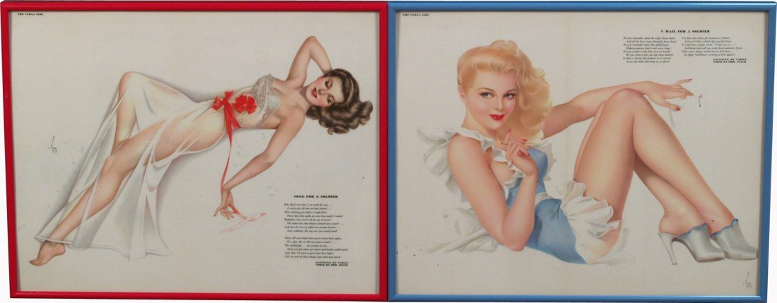 507: Lot Of 2 Vargas Esquire Magazine Pin-Up Girl Print