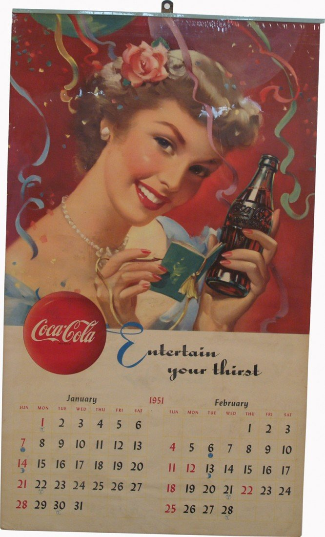 "510: Coca Cola ""Entertain Your Thirst"" 1951 Paper Calen"