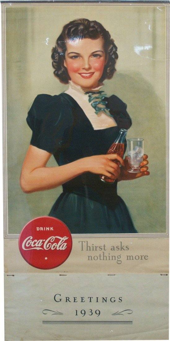 513: Drink Coca Cola Lithograph Paper Calendar Sign w/