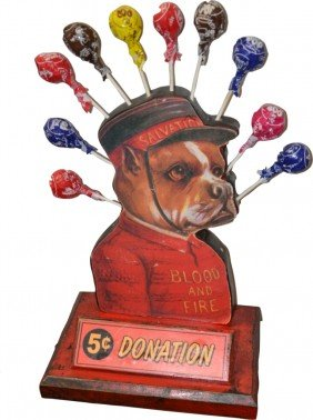 Vintage Countertop Wooden Salvation Army Dog Donat