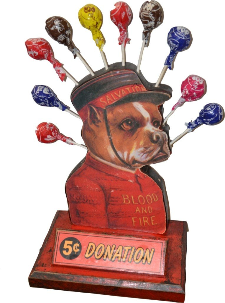 514: Vintage Countertop Wooden Salvation Army Dog Donat