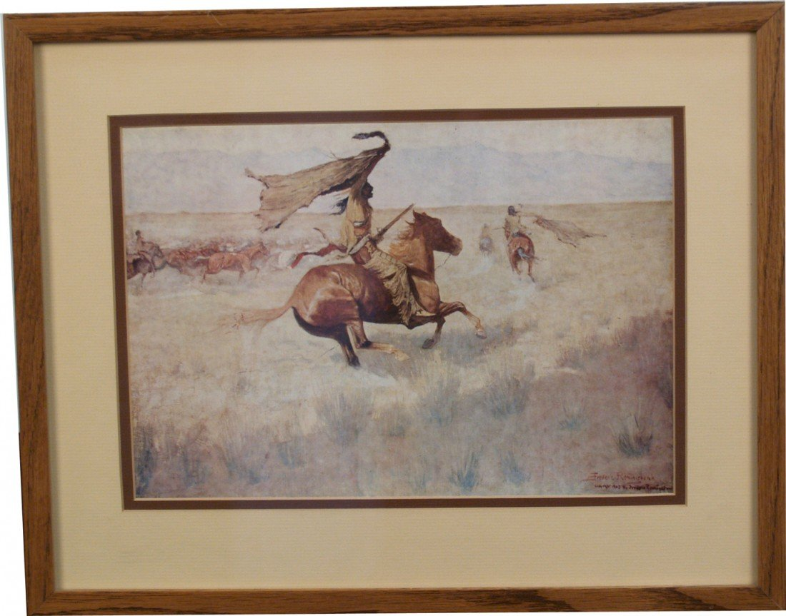518: Indian On The Prairie, Frederic Remington Print,