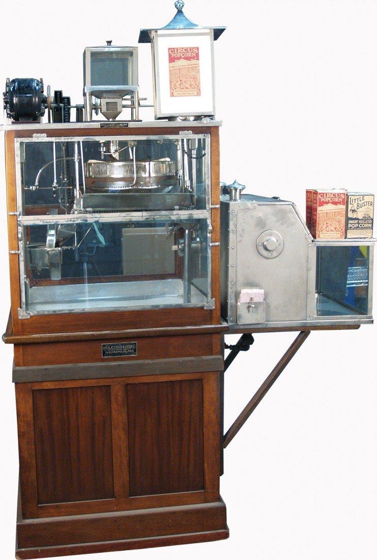 640: Early Floor Model Mahogany Cabinet & Glass Popcorn