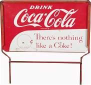 842: Drink Coca Cola Metal Display Rack Top Sign