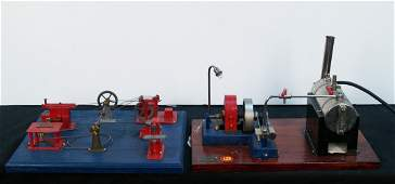 889: Lot Of 2 Steam Engine Display Models On Wood Bases