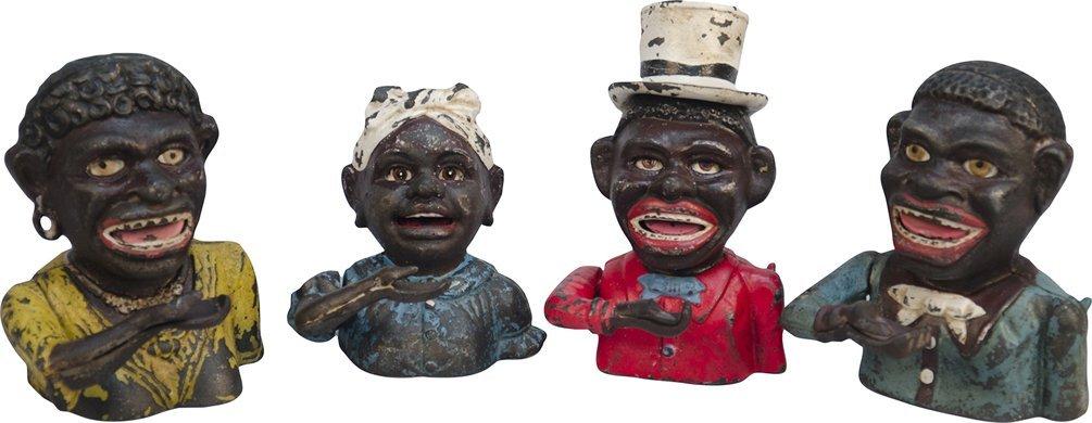 8: Lot Of 4 Antique Cast-Iron Mechanical Black American