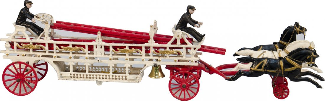 10: Early Large Cast-Iron Arcade Toys Horse Drawn Fire
