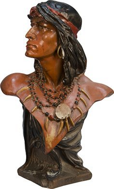 14: Plaster Figural Indian Cigar Store Counter Statue